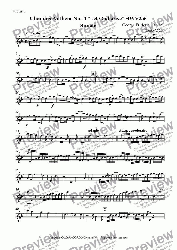 "page one of the Violin I part from Chandos Anthem No.11 ""Let God arise"" HWV256 Sonata"