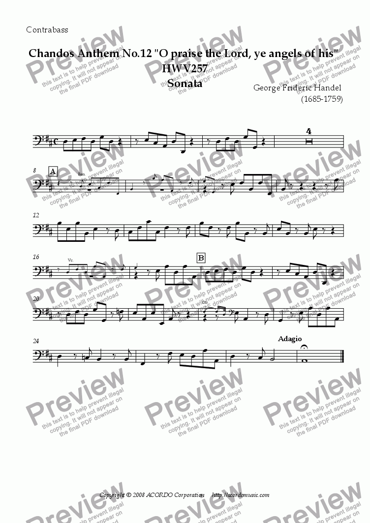 "page one of the Contrabass part from Chandos Anthem No.12 ""O praise the Lord, ye angels of his"" HWV257 Sonata"