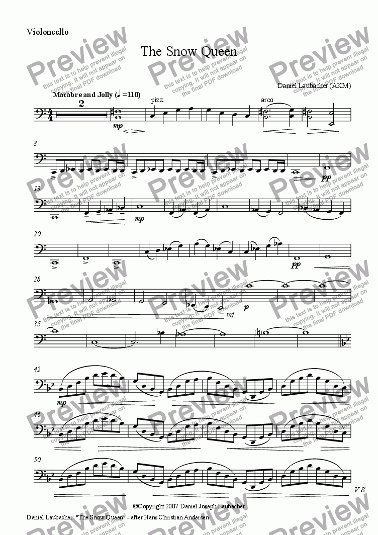 page one of the Violoncello part from The Snow Queen after Hans Christian Andersen (for Orchestra)