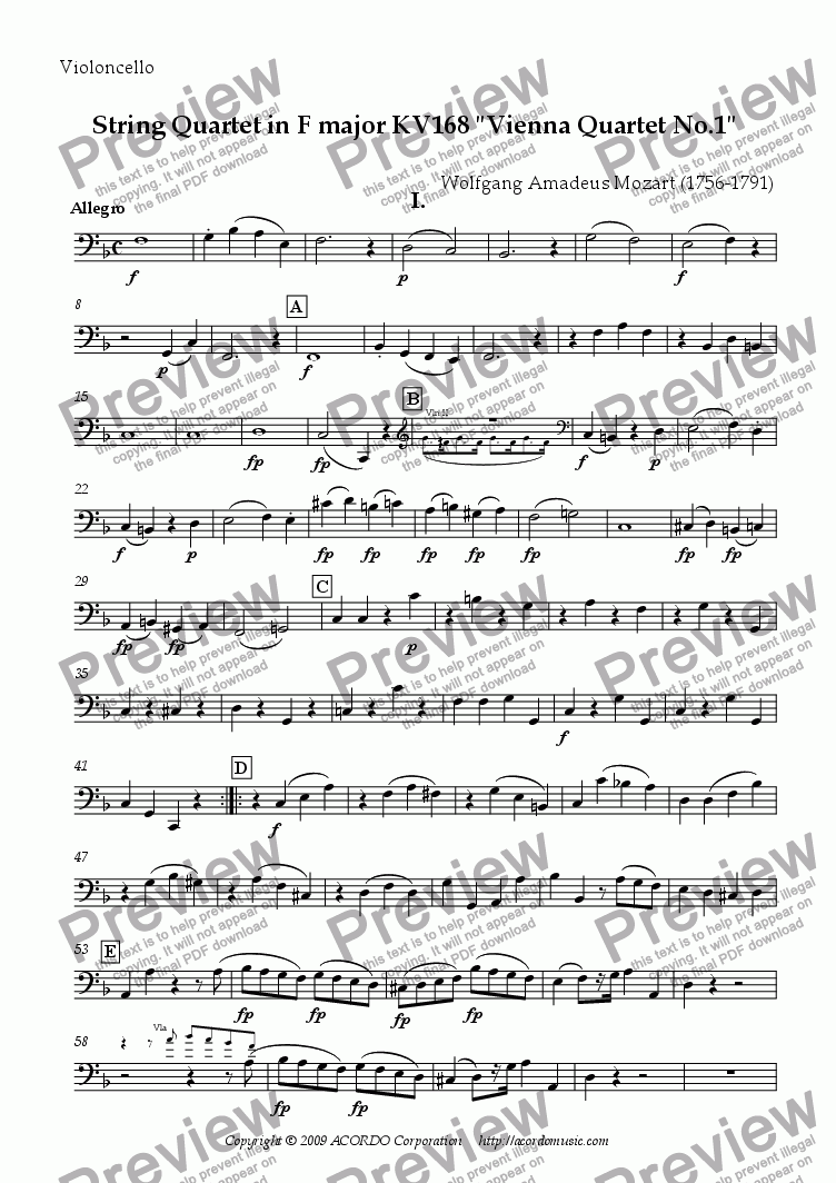 "page one of the Violoncello part from String Quartet in F major KV168 ""Vienna Quartet No.1"""