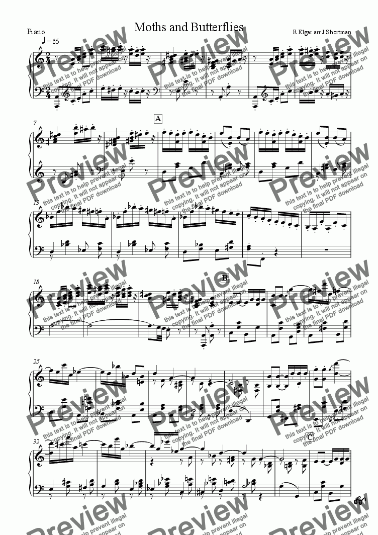 page one of the piano part from Elgar - 'Moths and Butterflies' from the Wand of Youth 2nd Suite (arranged for training orchestra)