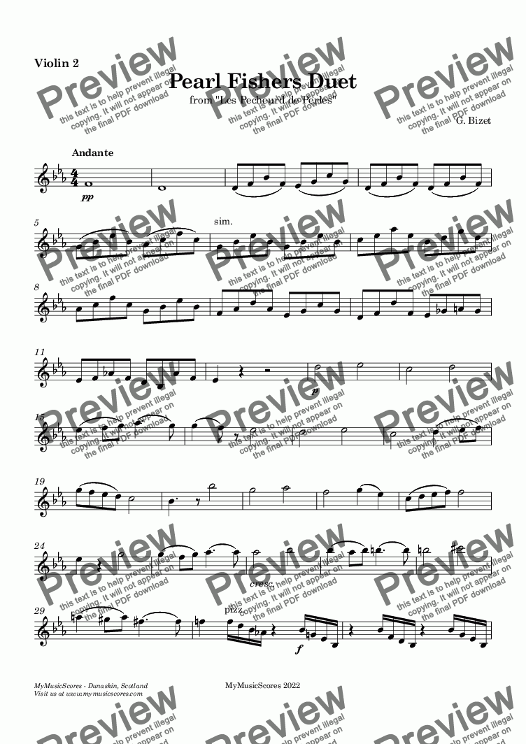 page one of the Violin 2 part from Bizet Pearl Fishers Duet for String Quartet