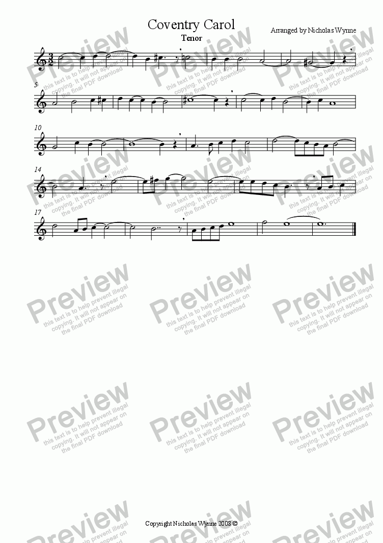 page one of the Tenor Recorder part from Coventry Carol for Recorder Quartet