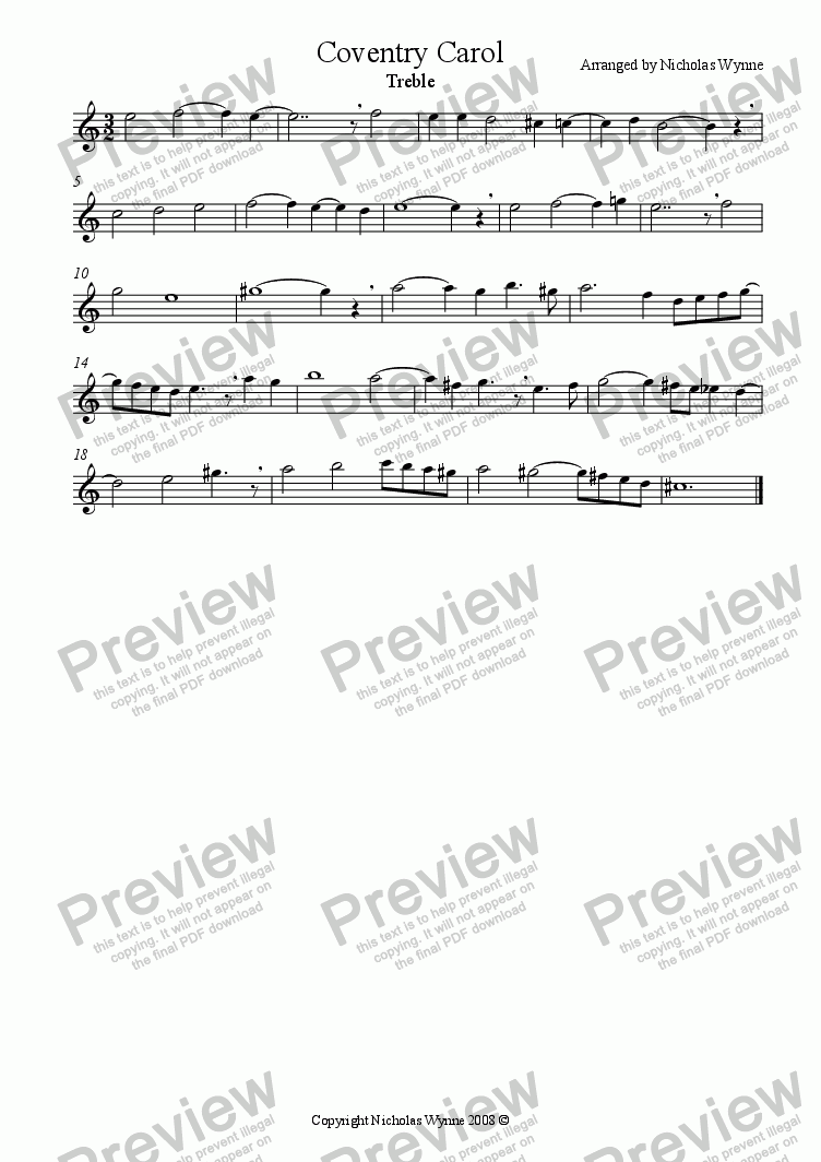 page one of the Treble Recorder part from Coventry Carol for Recorder Quartet