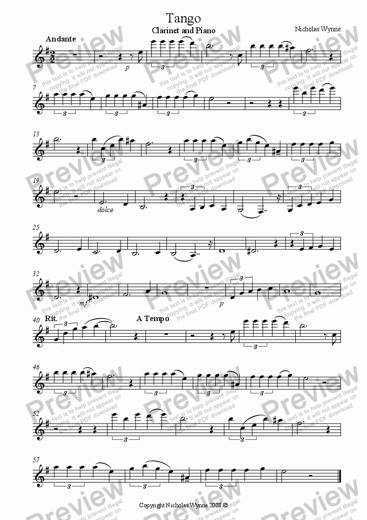 page one of the Clarinet part from Tango for B flat Clarinet and Piano