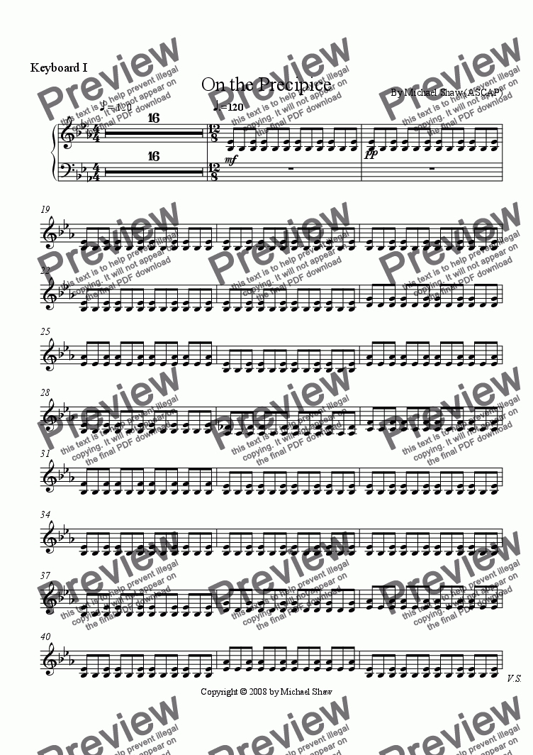 page one of the Keyboard part from On the Precipice