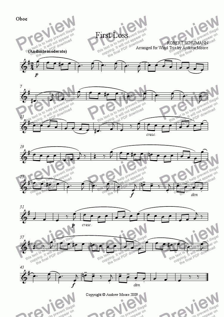 page one of the Oboe part from 'First Loss - Erster Verlust'  Op.68, No.16 for Wind Trio