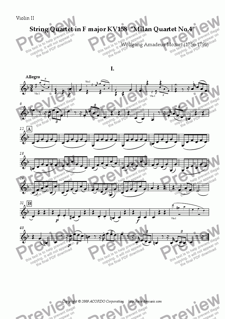 "page one of the Violin II part from String Quartet in F major KV158  ""Milan Quartet No.4"""
