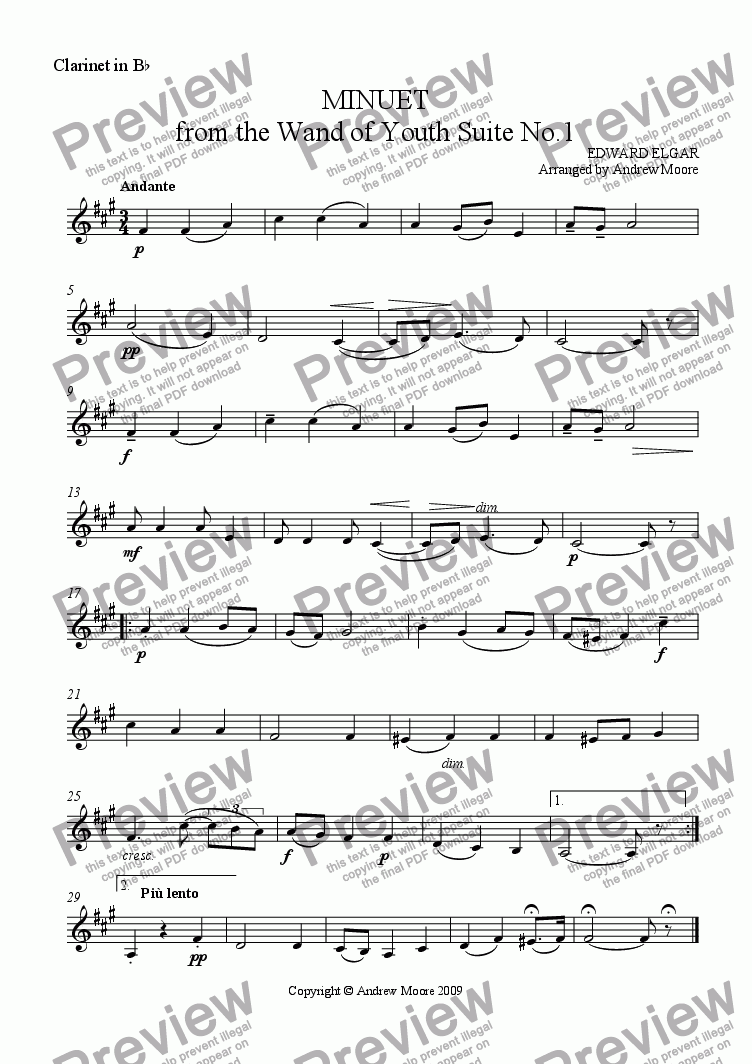 page one of the Clarinet in B flat part from 'Minuet' from Wand of Youth arr. for Wind Trio