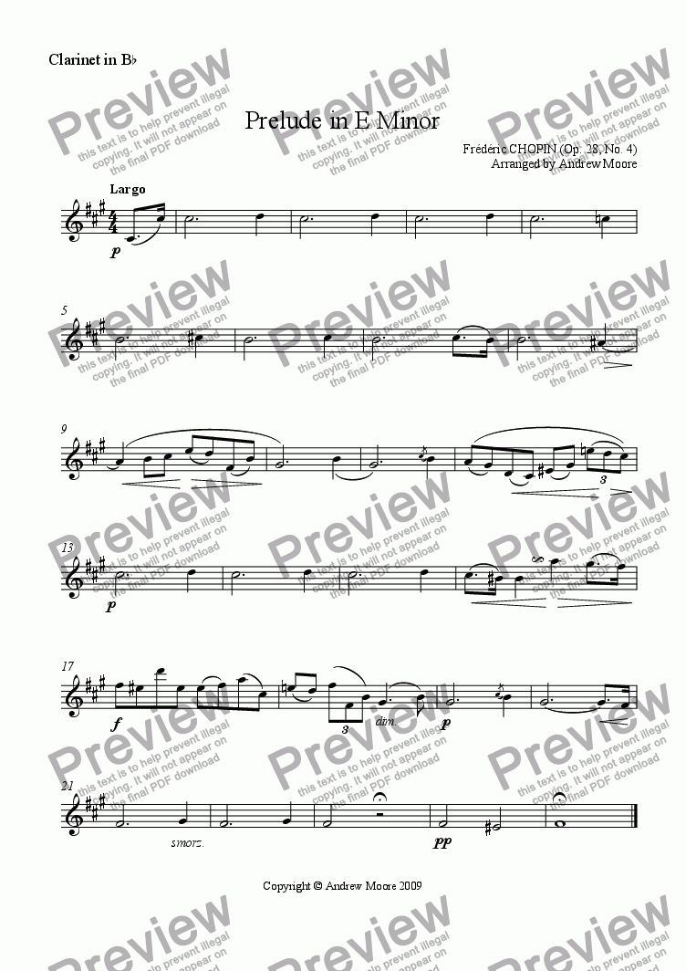 page one of the Clarinet in B flat part from Prelude in E Minor Op.28, No. 4 arr. for Clarinet & piano
