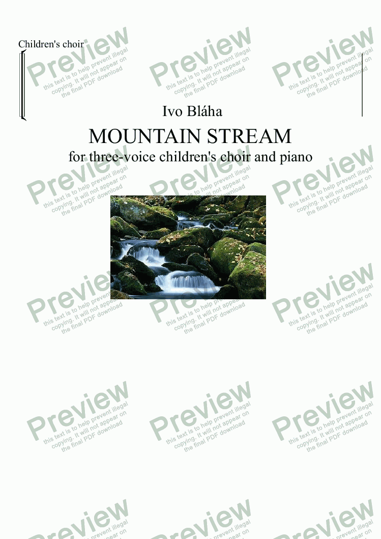 page one of the Choir part from MOUNTAIN STREAM for three-voice children's choir and piano (English words)