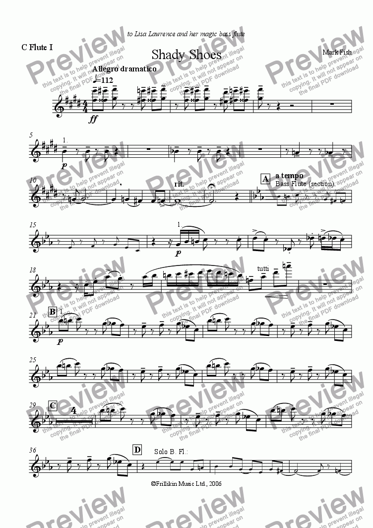 page one of the C Flute 1 part from Shady Shoes