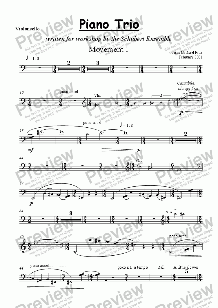 page one of the Violoncello part from Piano Trio [2001]