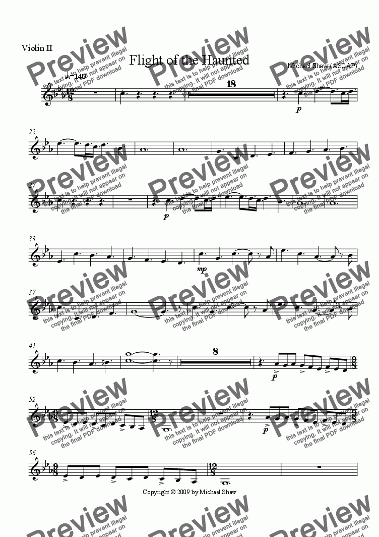 page one of the Violin II part from Flight of the Haunted