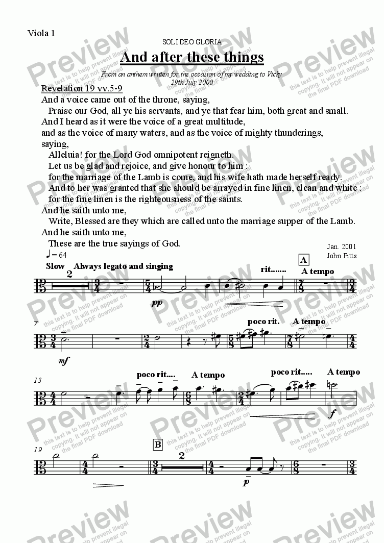 page one of the Viola 1 part from And after these things (six strings) [2000]