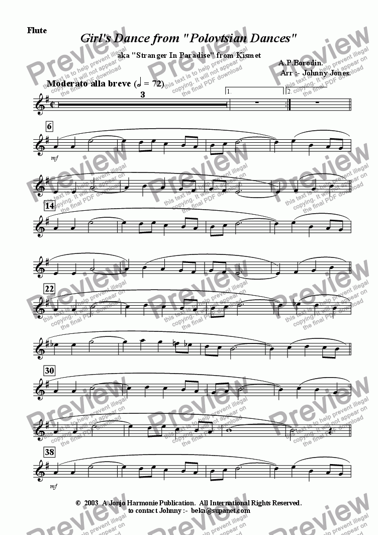page one of the Flute part from Girl's Dance from 'Polovetsian Dances'   (Flute and Piano)