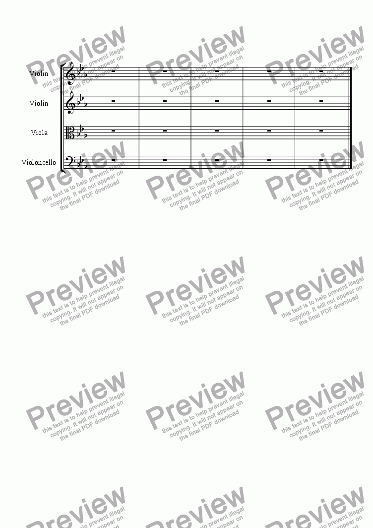 page one of the violin II part from String Quartet No.1 in C minor