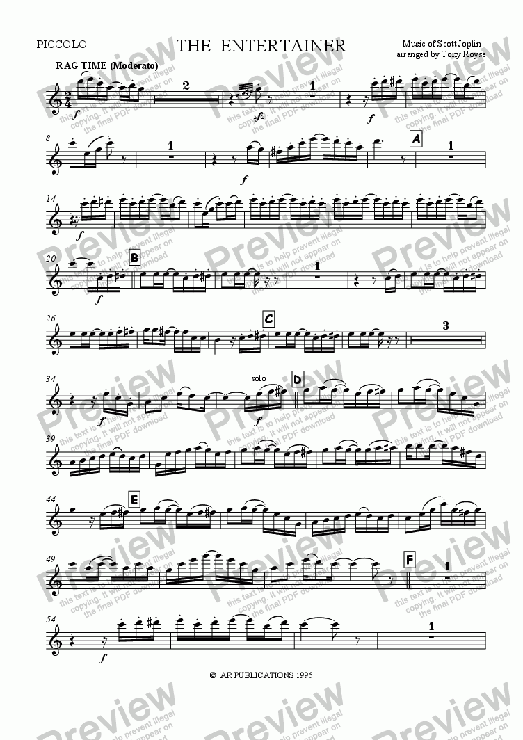 page one of the Piccolo part from The Entertainer (Full Orchestra)