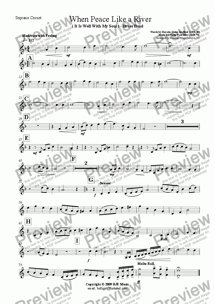 page one of the Soprano Cornet part from When Peace Like A River (It Is Well With My Soul) - Brass Band