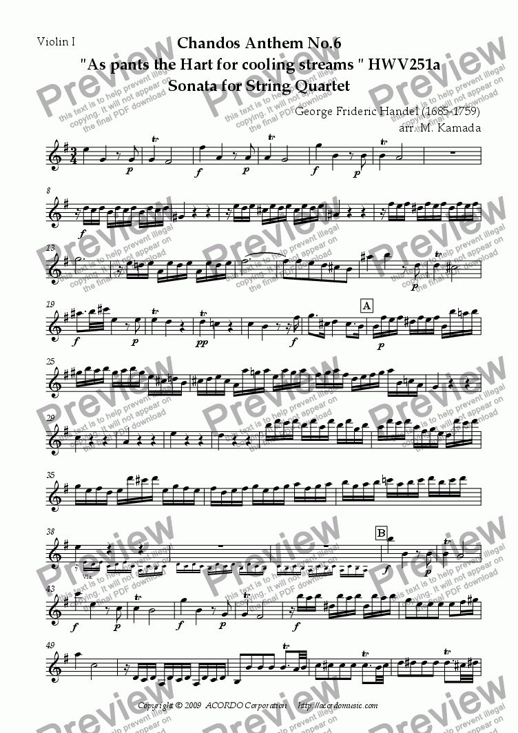 "page one of the Violin I part from Chandos Anthem No.6  ""As pants the Hart for cooling streams"" HWV251a Sonata for String Quartet"