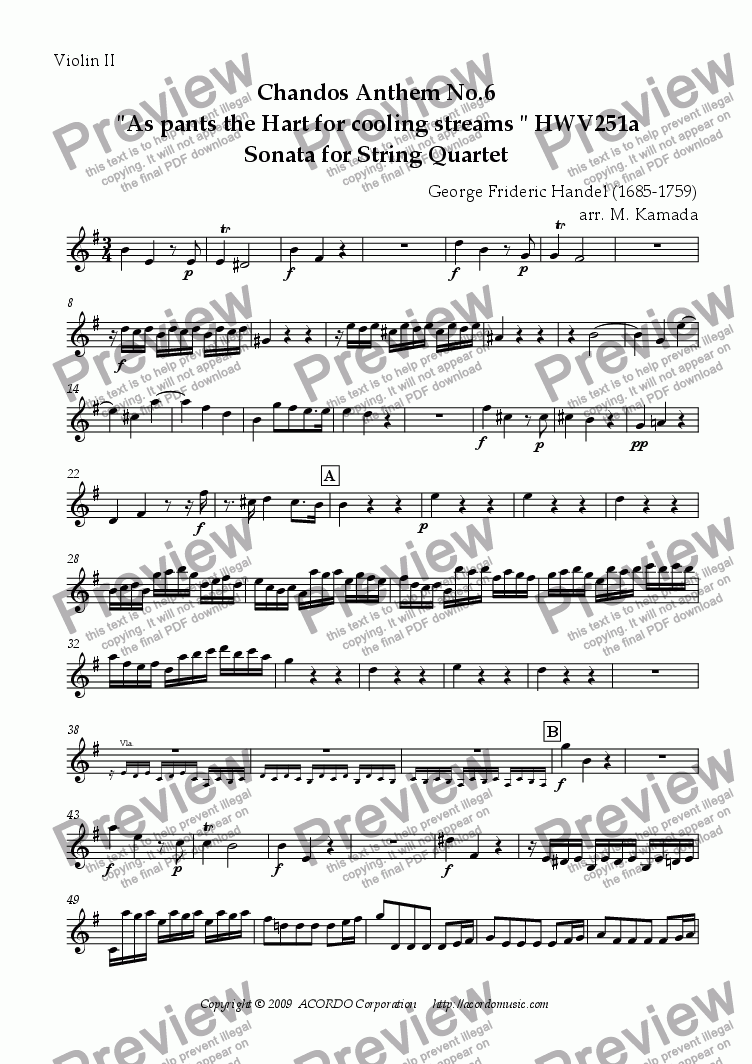 "page one of the Violin II part from Chandos Anthem No.6  ""As pants the Hart for cooling streams"" HWV251a Sonata for String Quartet"