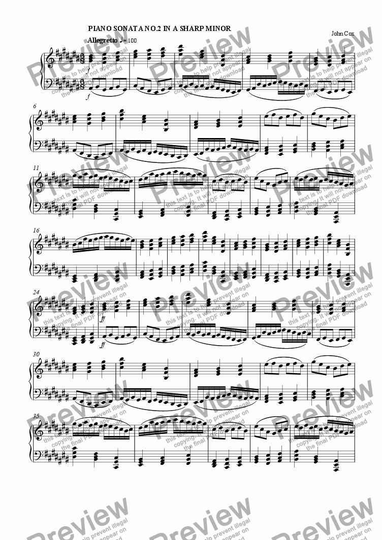 page one of the piano I part from Piano Sonata No.2 in A sharp minor