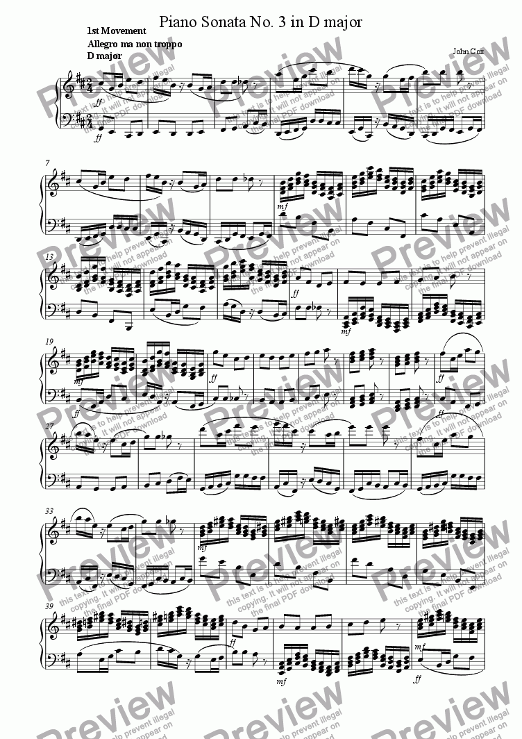 page one of the piano II part from Piano Sonata No.3 in D major