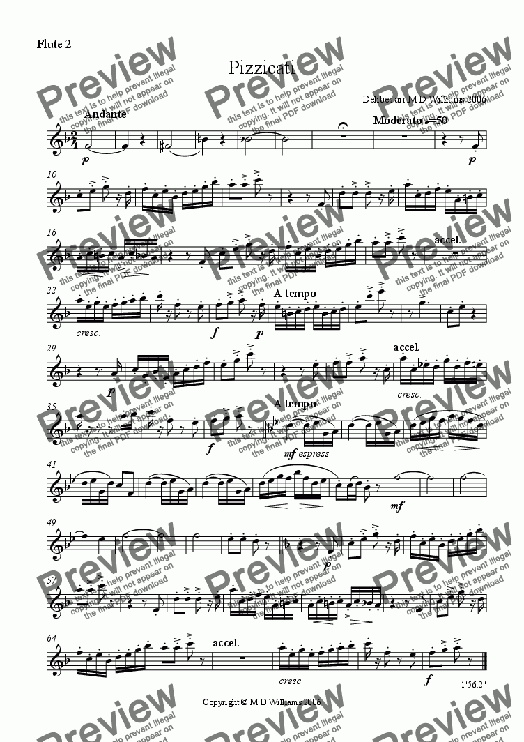 page one of the flute 2 part from Delibes' Pizzicati from 'Sylvia'