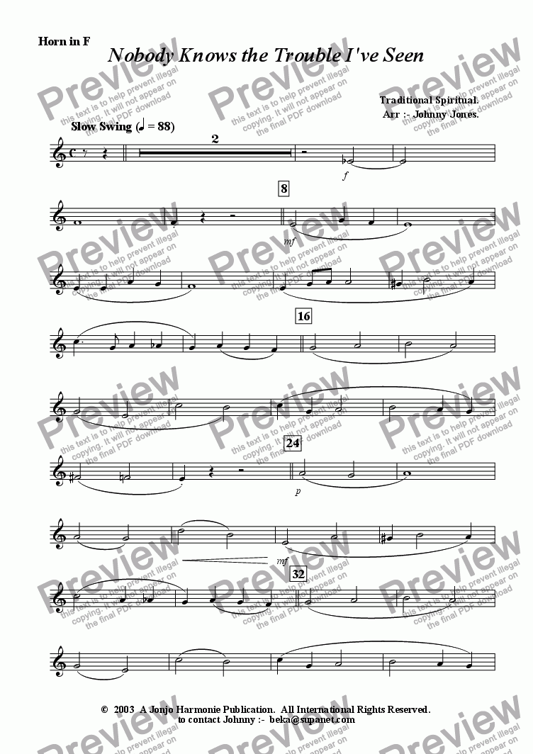 page one of the Horn in F part from Nobody Knows the Trouble I've Seen   (Brass Quintet)