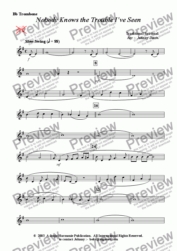 page one of the Bb Trombone part from Nobody Knows the Trouble I've Seen   (Brass Quintet)
