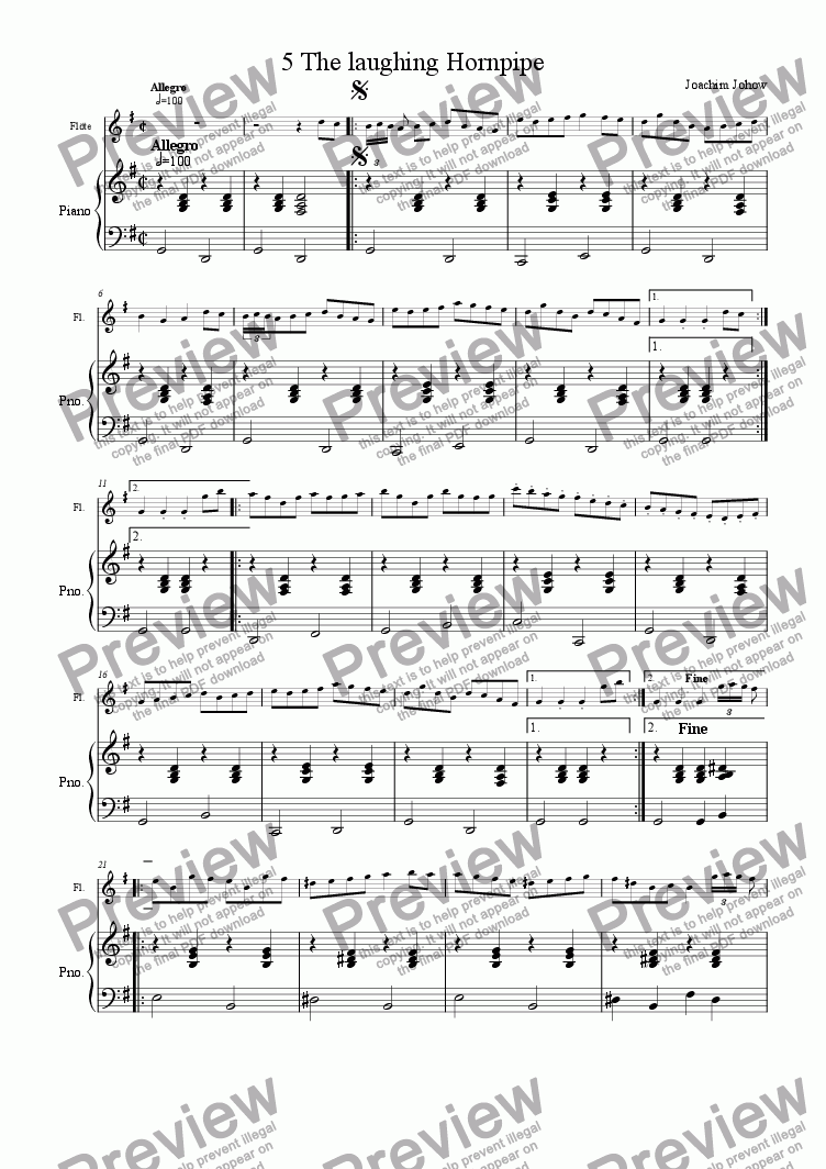 page one of the Piano part from Winter Fiddler 05 (The laughing Hornpipe)