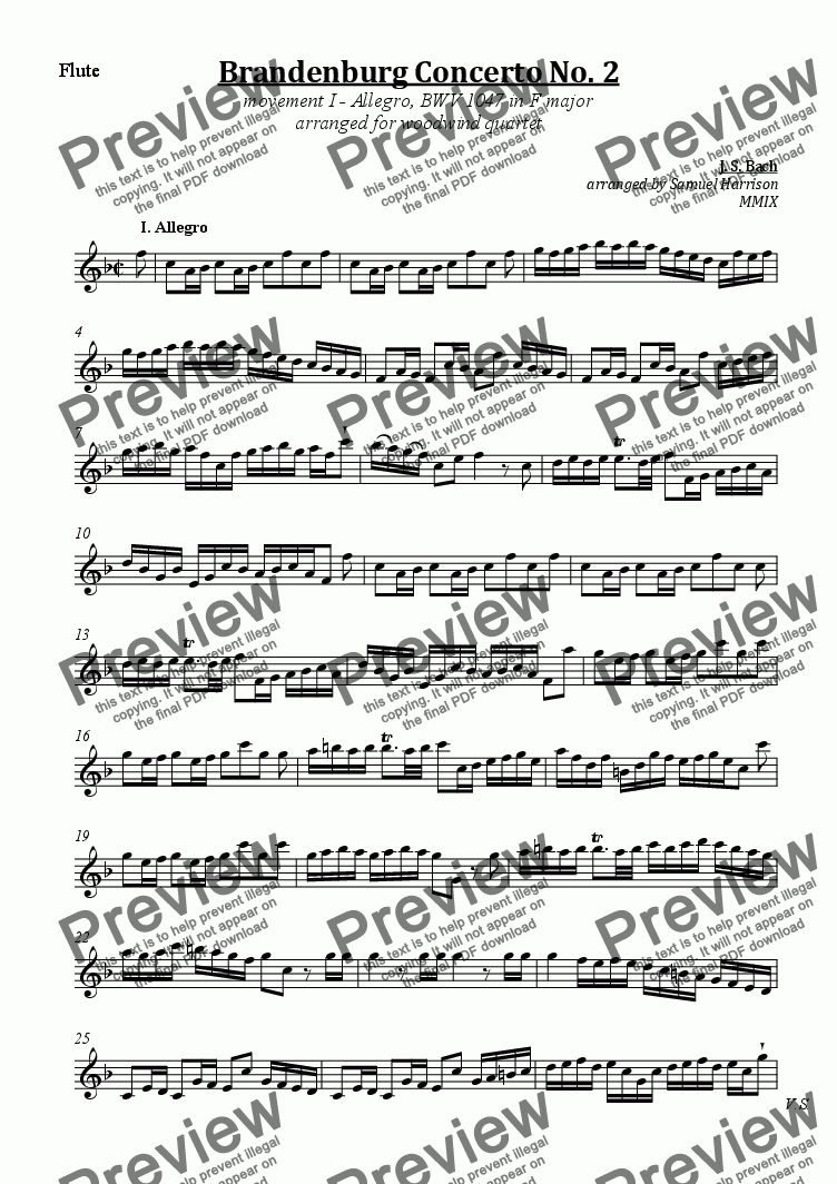 page one of the Flute part from Brandenburg Concerto No. 2  (I. Allegro) - BWV 1047 in F major (for woodwind quartet)