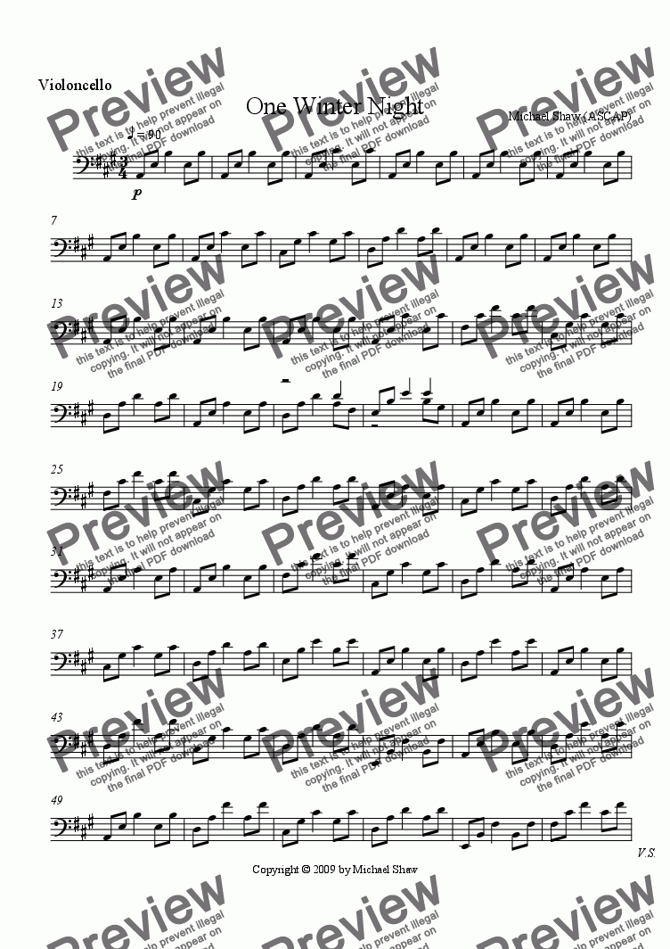 page one of the Violincello part from One Winter Night
