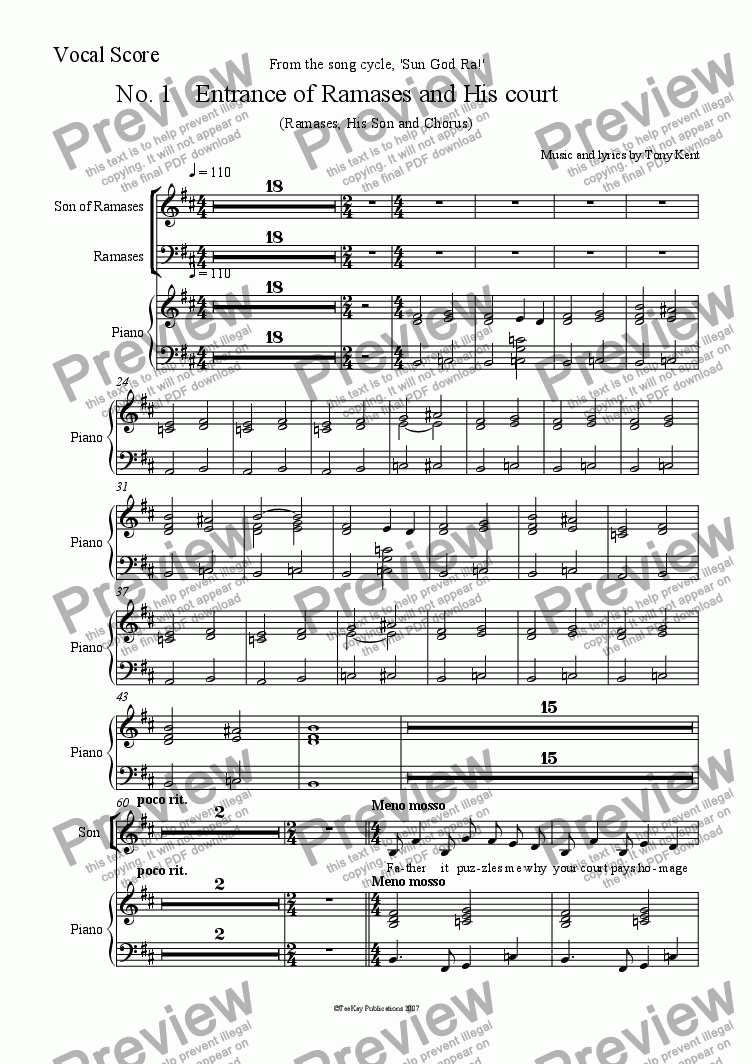 page one of the Vocal Score part from Entrance of Ramases and his court