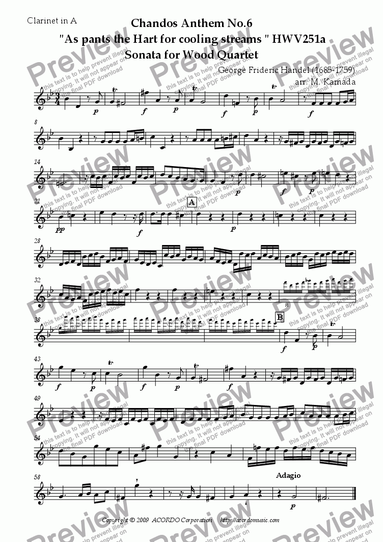 "page one of the Clarinet in A part from Chandos Anthem No.6  ""As pants the Hart for cooling streams"" HWV251a Sonata for Wood Quartet"