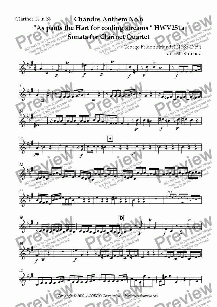 "page one of the Clarinet III in Bb part from Chandos Anthem No.6  ""As pants the Hart for cooling streams"" HWV251a Sonata for Clarinet Quartet"