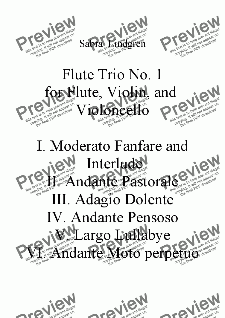 page one of the Full Score part from Flute Trio No. 1 for Flute, Violin, and Violoncello, II. Andante Pastorale