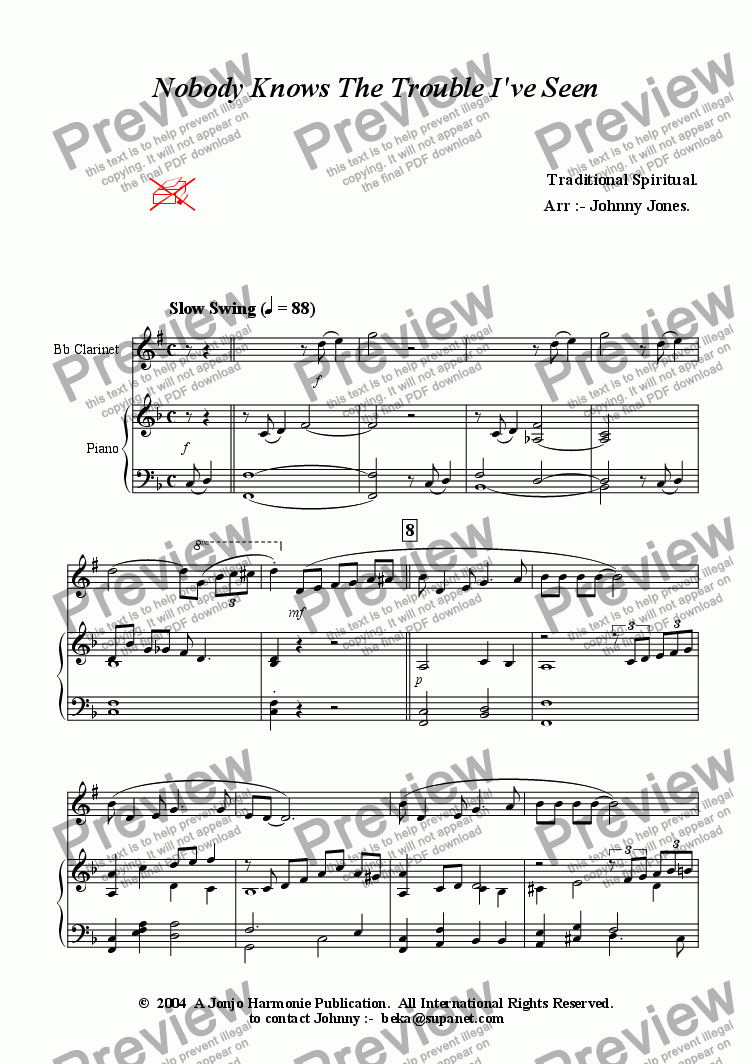 page one of the Piano conductor part from Nobody Knows The Trouble I've Seen   (Clarinet and Strings)
