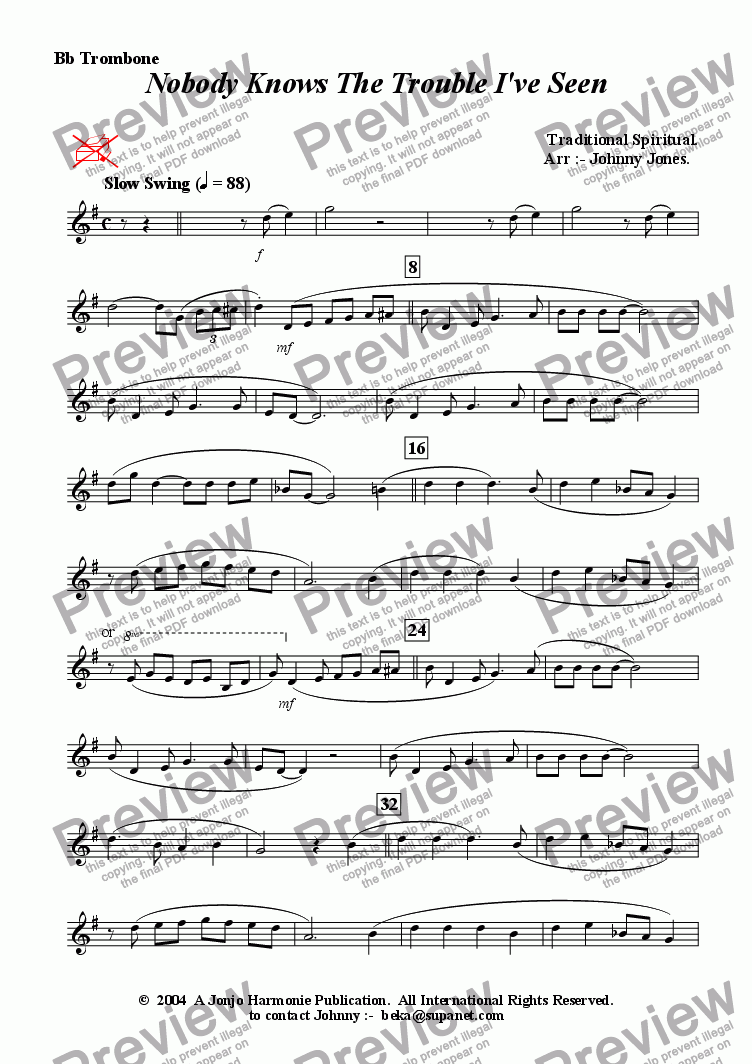 page one of the Bb Trombone part from Nobody Knows The Trouble I've Seen   (Trombone and Strings)