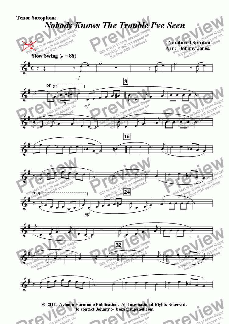 page one of the Tenor Saxophone part from Nobody Knows The Trouble Ive Seen    (Tenor Saxophone and Piano)