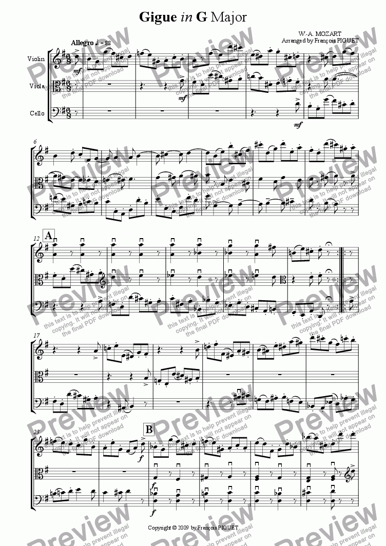 page one of the Viola part from Gigue in G Major