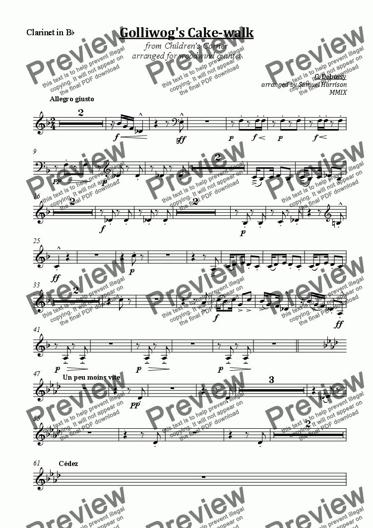 page one of the Clarinet part from Golliwog's Cake-walk (for woodwind quintet)