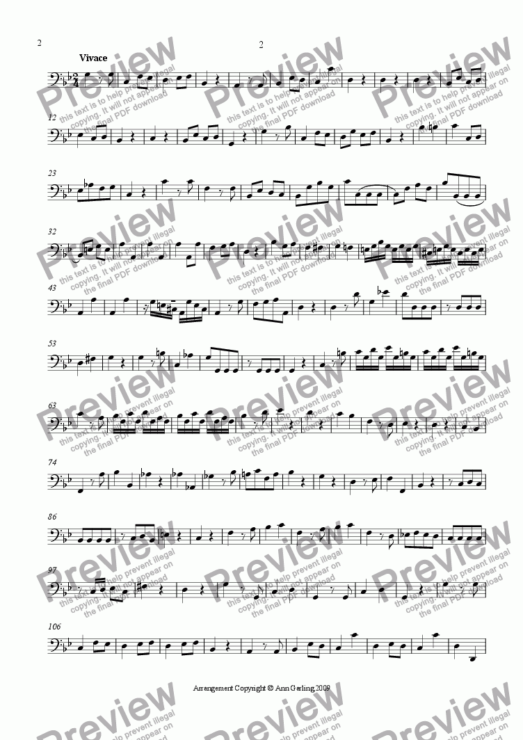 page one of the Basso part from Concerto 2 from 6 Concertos and 6 Suites, 2nd and 3rd movements