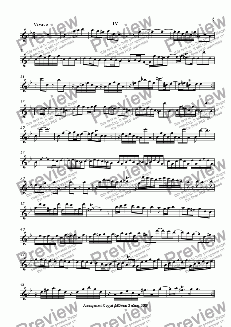 page one of the Alto Recorder part from Concerto 2 from 6 Concertos and 6 Suites, 4th movement