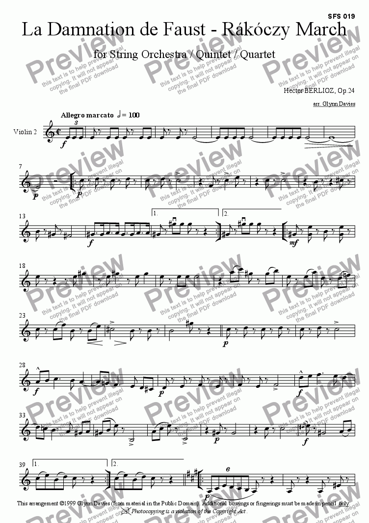 page one of the Violin 2 part from La Damnation de Faust - Rakoczy March