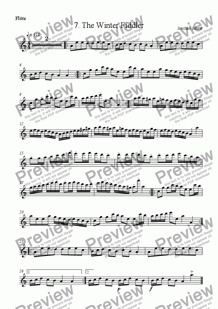 page one of the Fl part from Winter Fiddler 07 (The Winter Fiddler)