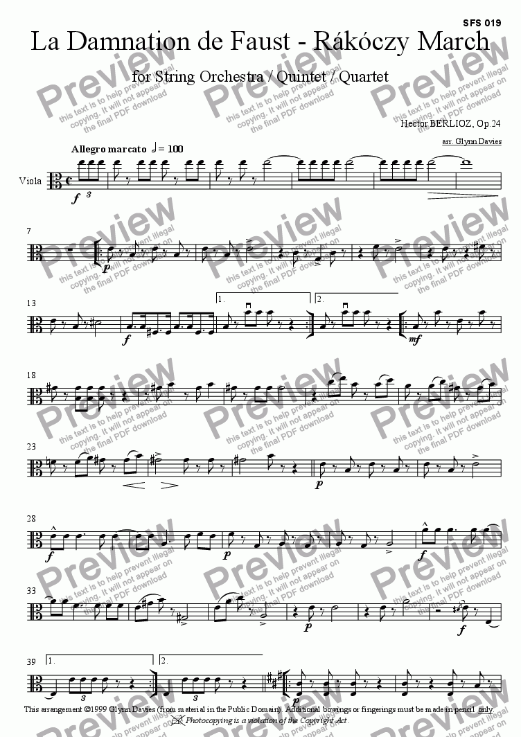 page one of the Viola part from La Damnation de Faust - Rakoczy March