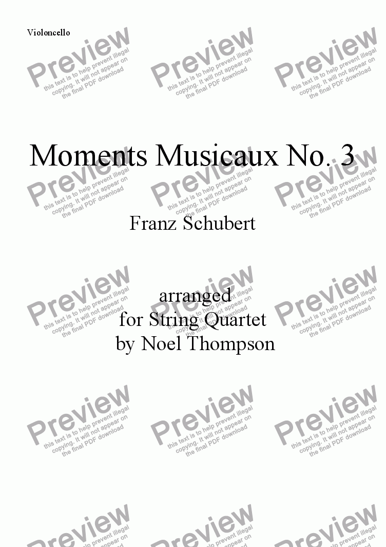 page one of the violoncello part from Schubert's Moments Musicaux No. 3 arr. for String Quartet -edited