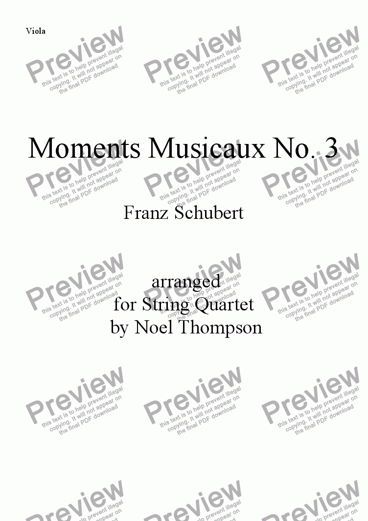 page one of the viola part from Schubert's Moments Musicaux No. 3 arr. for String Quartet -edited