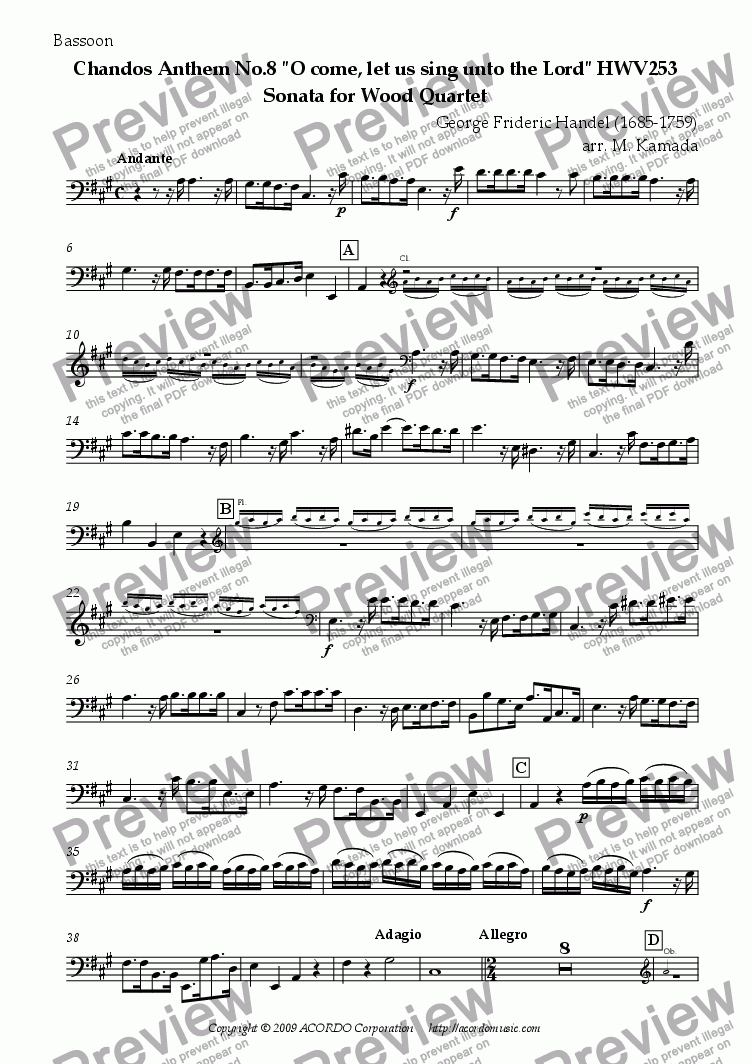 "page one of the Bassoon part from Chandos Anthem No.8 ""O come, let us sing unto the Lord"" HWV253 Sonata for Wood Quartet"